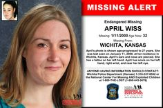 APRIL WISS, Age Now: 32, Missing: 01/11/2000. Missing From WICHITA, KS. ANYONE HAVING INFORMATION SHOULD CONTACT: Wichita Police Department (Kansas) 1-316-337-6552.
