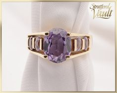 Vintage ~ Synthetic Alexandrite Ring ~ Yellow Gold ~ Created Alexandrite Center ~ Side Created Alexandrites ~ by StratfordVault on Etsy Alexandrite Ring, Vintage Jewelry, Unique Jewelry, Filigree Ring, Edwardian Fashion, Jewelry Collection, Sterling Silver Rings, Jewels, Purple