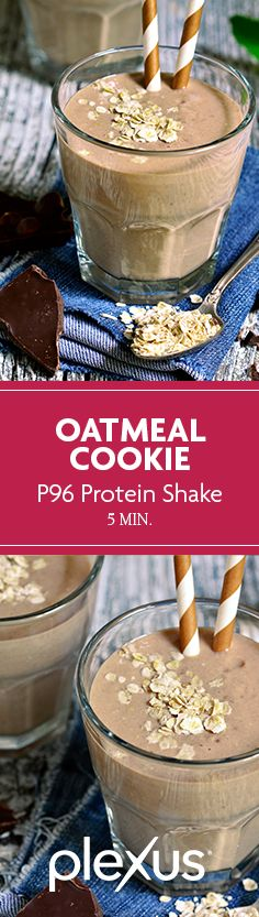 The blender is the new oven—this Plexus 96® Oatmeal Cookie Protein Shake is sure to confuse your taste buds (how can something this nutritious possibly taste this good?!) and satisfy that week-long craving for a cookie.