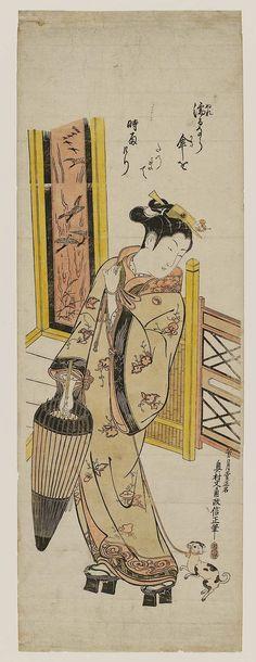 Woman with Umbrella and Dog on Leash, about 1744–48 Artist Okumura Masanobu (Japanese, 1686–1764) | Museum of Fine Arts, Boston