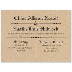 brown vintage newspaper wedding invitation | kraft paper wedding invitation | typography at Ann's Bridal Bargains
