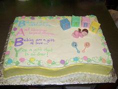 http://cakedecoratingcoursesonline.com/cake-decorating/ Baby Shower Poem Cake . Looking for #Best #Baby #Shower #Cake? - Learn How to #Decorate Cakes - Visit Online Cake Decorating Classes on http://CakeDecoratingCoursesOnline.com