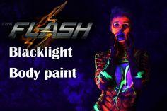 The Flash Comic Cosplay blacklight paint UV shoot bodyart by Diego Gonzalez
