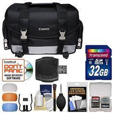 Canon 100DG Digital SLR Camera Case Gadget Bag + 32GB Card + Flash Diffuser Kit for EOS 6D, 70D, 7D, 5DS, 5D Mark...