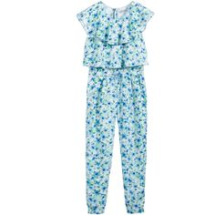 Girls blue and green, sleeveless jumpsuit by Mayoral, made in a smooth and lightweight, silky satin with an all-over floral and leaf print. It has a floaty ruffle collar and bodice giving it a layered look. With elasticated ankles and waist, side pockets and a zip fastener at the back for easy dressing.