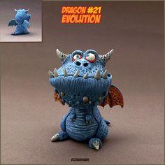 Dragon number #21   Flickr - Photo Sharing! Ceramic Monsters, Clay Monsters, Polymer Clay Dragon, Polymer Clay Art, Pottery Sculpture, Sculpture Art, Cute Fantasy Creatures, Alien Concept Art, Cute Dragons