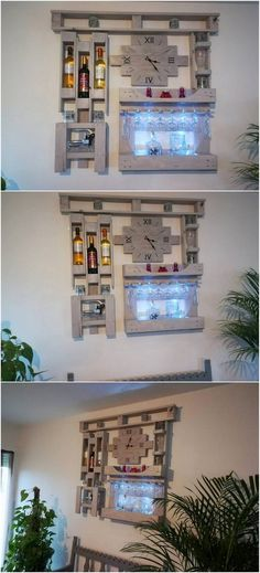 Wood pallet has a huge demand in the bar counter corner areas as well where you can make its dramatic use for the wine rack creations. You can make it hang on top of the wall where you can purposely set all your favorite wine bottles. But the image even show the interesting appearance of wall clock effect as well.