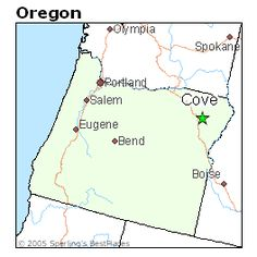 Placement of Cove, on an Oregon Map.  A very convenient location, within easy access of the Tri-Cities or Idaho - and just a six-hour drive to the coast.