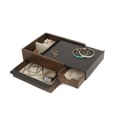 Cleaning Jewelry Small Storage - Stowit Jewelry Box - Description: A modern wood and metal box with sliding drawers to store jewelry and accessories. Modern Jewelry Box, Large Jewelry Box, Clean Gold Jewelry, Wooden Jewelry Boxes, Jewellery Boxes, Jewellery Storage, Jewelry Organization, Black Jewelry, Contemporary Jewellery