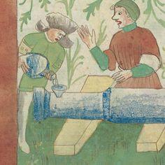 Metallene Flasche für Pulver oder Zündkraut Kriegstechnik, Zürcher Zentralbibliothek MS. Rh. hist. 33b: Fol. 21v, Oberrhein um 1420-1440