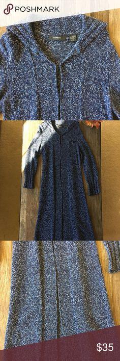 "Express long sweater jacket Express long sweater jacket 🔹Navy blue marled sweater jacket 🔹Front hook closure 🔹Foldover collar 🔹80% merino/20% nylon 🔹Long sweater--48""(4 ft) long Express Sweaters Cardigans"