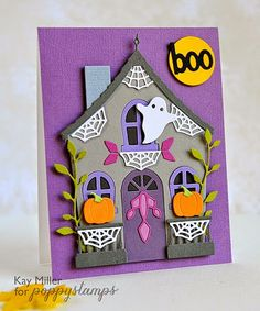My Joyful Moments— Dies from Poppystamps:  Cute Cottage;  Halloween Roof and Porch; Winterflake Border; Diana Border Other dies:  Pumpkins - Taylored Expressions Ghost, Moon and Boo - My Favorite Things