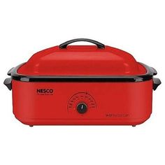 """Nesco Red Rectangle Slow Cooker at Lowe's. The Nesco 18 qt. Roaster Oven in Red is your portable, """"go anywhere"""" second oven—capable of doing everything a traditional oven does, except Nesco Roaster Oven, Red Roaster, Electric Roaster Ovens, Electric Oven, Turkey Roaster, X 23, Cooking Appliances, Small Kitchen Appliances, Kitchen Gadgets"""