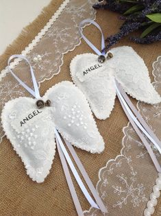 Your place to buy and sell all things handmade Felt Christmas Ornaments, Angel Ornaments, Christmas Angels, Diy Angel Wings, Diy Wings, Memorial Ornaments, Memorial Gifts, Angel Crafts, Christmas Crafts