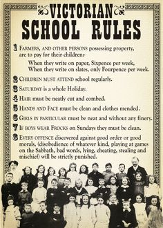 Take a look at some of these retro school rules, and then you will probably be thankful you weren't a teacher back in the day. Victorian History, Victorian Life, Victorian Era Facts, Vintage Modern, Writing Tips, Writing Prompts, Playground Rules, Etiquette And Manners, Victorian Pictures