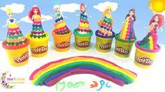 Play Doh Rainbow Disney Princess Dresses Ariel Elsa Belle ♥ Colorful Pri...