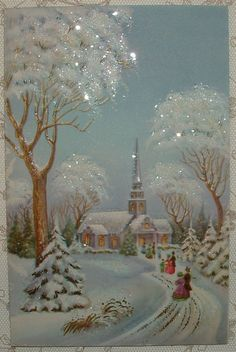 Glittered -Walking to Church in the Snow -1950's Vintage Christmas Greeting Card