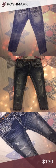 Rock Revival Crops size 25 Beautiful denim😍                                                   Awesome stone wash and destruction💎✨       Only been worn a couple times                       Great condition💎                                                   Original price was 159.00                                         Feel free to ask any questions 🌞❓🌻               *Bundle&SAVE 💰 Rock Revival Jeans Ankle & Cropped