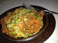"Paleo, Low-carb, gluten free, zucchini ""spaghetti"" bolognaise."