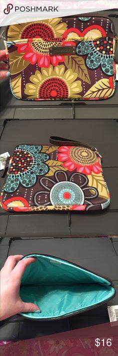 "Vera Bradley Neoprene tablet sleeve Flower Shower Main compartment zip closure. Front has a full length slip pocket. Wrist strap. 10"" W X 8 H Vera Bradley Accessories Tablet Cases"