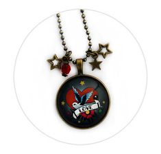 Swallow Love Necklace Star charms and Red Glass Bead Old Shool Tattoo Rockabilly Pin up