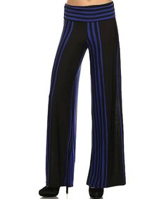 Look at this Royal & Black Stripe Palazzo Pants on #zulily today!