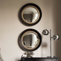 A traditional round convex wall mirror with a stylish black and gold frame. These porthole mirrors are effective when hung in a small group. Porthole Mirror, Convex Mirror, Oval Mirror, Round Mirrors, Mirror Art, Mirror Ideas, Hall Mirrors, Entryway Mirror, Eclectic Furniture