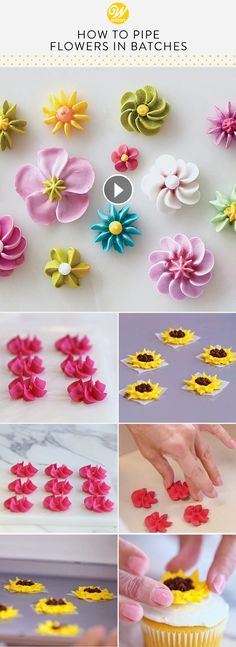 easy royal icing recipe Learn how to pipe flowers in batches which can be a total time saver! Piping royal icing or buttercream flowers in batches is a great way to work ahead an Frosting Flowers, Royal Icing Flowers, Fondant Flowers, Cake Flowers, Buttercream Flowers Tutorial, Fondant Bow, Fondant Tutorial, Flower Cakes, Fondant Cakes
