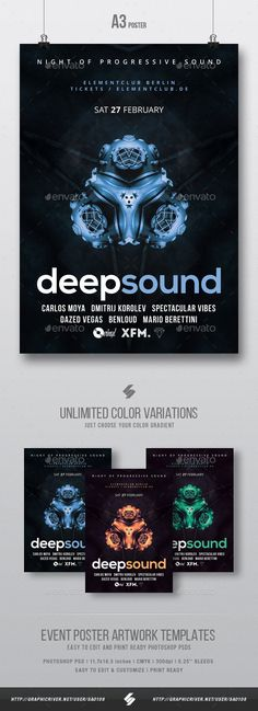Deep Sound - Progressive #Party #Flyer / Poster Template A3 - Clubs & Parties #Events Download here: https://graphicriver.net/item/deep-sound-progressive-party-flyer-poster-template-a3/19540439?ref=alena994