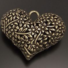 Free shipping/42X31X14mm Atq style bronze tone Charm/3D floral Charm/Heart shaped Charm