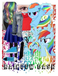 """Rainbowdash: MLP"" by demi-turtle-ninjagurl ❤ liked on Polyvore featuring Oasis, LE3NO, Luca Stefani and Silver Jeans Co."