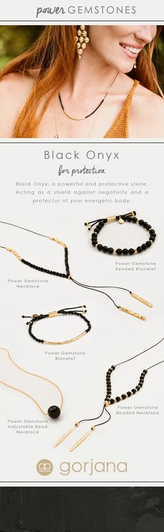 Discover all gorjana Power Gemstone Black Onyx for Protection Styles. Black Onyx, a powerful and protective stone. Acting as a shield against negativity and a protector of your energetic body.