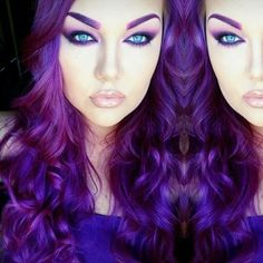 Again with purple hair and turquoise eyes. Such a striking combination!