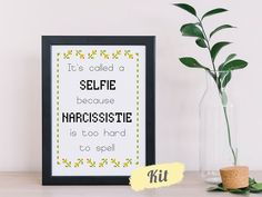 Funny Cross Stitch Kits & Patterns - By Curious Twist Cross Stitch Kit-It's called a SELFIE- complet Funny Cross Stitch Patterns, Cross Stitch Kits, Cross Stitch Designs, Craft Gifts, Diy Gifts, Sassy, Wooden Embroidery Hoops, Cross Stitch Fabric, Quirky Gifts