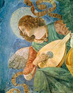 """""""An angel playing the lute"""" By Melozzo da Forlì Aka Melozzo degli Ambrosi fragment of fresco removed, painted for the Church of the SS Apostoli in Rome, Vatican Museums: Pinacoteca Vaticana, Online Collection. Renaissance Kunst, Renaissance Paintings, Renaissance Image, Fresco, Hans Baldung Grien, Hans Memling, I Believe In Angels, Angels Among Us, Guardian Angels"""
