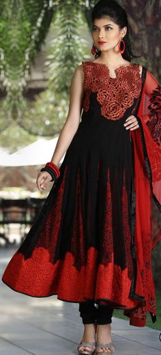 $260.18 Black Sleeveless Faux Georgette Long Anarkali Salwar Kameez 19536