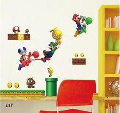 EOZY 27.56*19.69 Pouces Super Mario Bros PVC Sticker Mural pour Coucher Chambre: Amazon.fr: Cuisine & Maison
