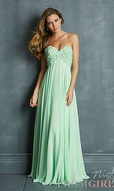 Long Strapless Empire Waist Gown at PromGirl.com#prom#dress#promdress