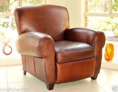 Vintage-Art-Deco-1930s-Style-Brown-Leather-Armchair-Recliner-Made-in-the-U-S-A
