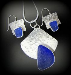 Sea Glass Jewelry, Necklace and Earring Set - Rare, Cobalt Blue - Sterling Silver, Artisan Hammered, Pacific Ocean, Jewellery
