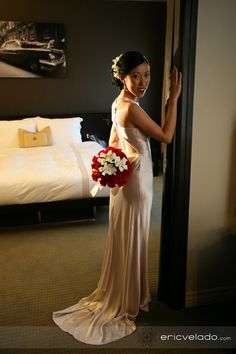 Annie poses in her wedding dress in a private room at the Hollywood Roosevelt Hotel
