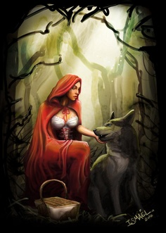 Little Red Riding Hood and the big bad wolf. Red Riding Hood Wolf, Little Red Ridding Hood, Wolves And Women, Charles Perrault, Big Bad Wolf, Mystique, Fairytale Art, Red Hood, Illustrations