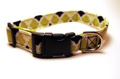 Sale 25% OFF!  Green Lime and Black Classic Pattern Adjustable Dog Collar   by ShortcakeDesigns, $12.00