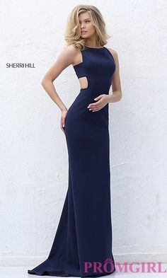 Image of long prom dress with side cut outs by Sherri Hill. Style: SH-50741 Detail Image 1