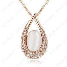 Xmas Gift 18K Rose Gold gp Swarovski Crystal Opal stone Heart Pendant Necklace N325R1