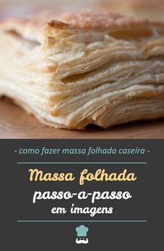 Confira esta receita de massa folhada passo a passo em fotos! #massafolhada #massafolhadacaseira #confeitariafácil #receitademassafolhada #receitadefolhado #comida #receita #receitafácil #receitapassoapasso Easy Cooking, Cooking Recipes, Healthy Recipes, Pasta Recipes, Bread Recipes, Cake Decorating Techniques, Croissant, Food Network Recipes, Baked Goods