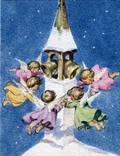 vintage Brownie Christmas card angels