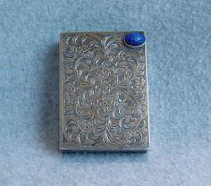 Antique Sterling Silver Compact Lapis Art Nouveau 800 Lipstick Powder Engraved | eBay
