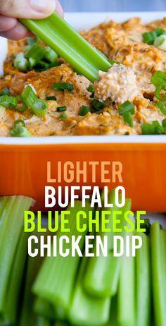 Lighter Buffalo Blue Cheese Chicken Dip #healthysnack #healthyappetizer #buffalochicken  #gameday