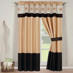 """With Love Home Decor - R-T™ Madison Gold Curtain Set- 2 Panels- 60""""x 84""""ea. with Valance, $47.99 (http://www.withlovehomedecor.com/products/r-t-madison-gold-curtain-set-2-panels-60x-84ea-with-valance.html)"""